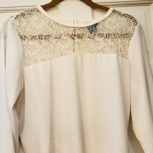 Ann Taylor Blouse with Lace Neckline